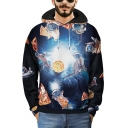 Cool Creative 3D Pizza Astronaut Printed Loose Relaxed Black Hoodie