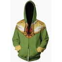 Power Rangers New Stylish 3D Comic Printed Long Sleeve Cosplay Costume Zip Up Yellow and Green Hoodie