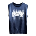 Popular Round Neck Trees Printed Casual Loose Women's Tank