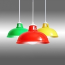Domed Pendant Light with Acrylic Shade Modern Suspension Light in Green/Red/Yellow