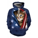 Funny Cute Flag Cat 3D Printing Casual Loose Blue Hoodie