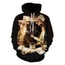 Cool 3D Cat Greenback Printed Long Sleeve Pullover Black Hoodie