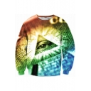 New Trendy Cool 3D Eye Pattern Round Neck Long Sleeve Pullover Sweatshirt