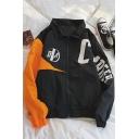 Unisex Casual Loose Zip Up Color Block Letter Pattern Long Sleeves Elastic Hem Men's Sport Jacket