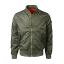 Mens Cool Solid Long Sleeve Stand Collar Zip Closure Cropped Bomber Jacket