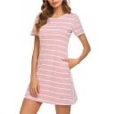 Sexy Back Crossing Striped Pattern Round Neck Short Sleeve Mini A-Line T-Shirt Dress