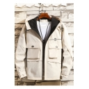 Men's New Trendy Velcro Cuffs Letter Embroidered Flap Pockets Zip Up Hooded Work Jacket