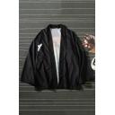 New Trendy Bird Plants Printed Long Sleeve Unisex Casual Black Kimono Coat
