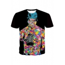 Cool Watercolor Painting Hip Hop Rapper Black Short Sleeve T-Shirt