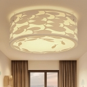 White Drum LED Ceiling Fixture with Fish Design Modernism Acrylic Surface Mount Light for Baby Kids Room