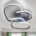 Coffee Ultra Thin Semi Flush Mount with Loving Heart Acrylic LED Lighting Fixture for Sitting Room