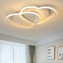Loving Heart LED Flushmount with Oval Metal Canopy White Flush Light Fixture for Corridor Hallway