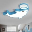 Lovely Blue/White Dolphin Flushmount Modernism Acrylic Surface Mount LED Light for Kids Children