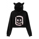 Marshmello Funny Sequined Square Smile Face Cute Cat Ear Loose Pullover Crop Hoodie