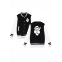 Funny Cartoon Wing Letter BE MINE Print Stand-Collar Button Down Baseball Jacket
