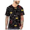 Men's V-Neck Short Sleeve Cool Formula Printed Black Fitted T-Shirt