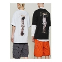 Fashionable Chinese Character Astronaut Printed Unisex Loose Casual Streetwear T-Shirt