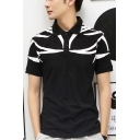 Guys New Fashion Unique Pattern Short Sleeve Two-Button Front Fitted Polo Shirt