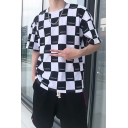 Trendy Allover Letter PLUSMANS Checkerboard Pattern Hip Hop Relaxed T-Shirt