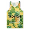 Summer Holiday Fashion Tropical Pineapple Printed Quick-Dry Beach Yellow Tank Top