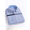 Classic Plaid Printed Mens Spring Trendy Fitted Button-Down Cotton Shirt