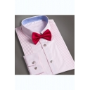 Fashion Bridegroom Simple Plain Pleated Detail Wash and Wear Bow-Tied Collar Button-Up Shirt for Wedding