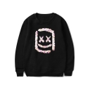 American Music Producer and DJ Fashion Sequined Square Smile Face Long Sleeve Loose Sweatshirt