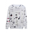 Cute Cartoon Graffiti Print Round Neck Long Sleeve Casual White Sweatshirt