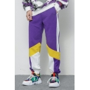 Guys New Trendy Cool Colorblock Elasticized Cuff Cotton Loose Casual Track Pants