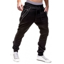 Mens Unique Zip Pocket Drawstring Waist Plain Casual Cotton Joggers Sweatpants