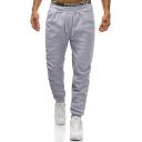 Mens Comfort Cotton Drawstring Waist Simple Plain Casual Warm Sporty Sweatpants