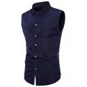 Men's New Stylish Cool Sleeveless Simple Plain Slim Fit Button-Up Shirt