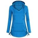 Womens New Stylish Plain Long Sleeve Drawstring Side Blue Longline Hoodie