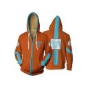 Cool 3D Comic Print Cosplay Costume Long Sleeve Zip Up Orange Hoodie