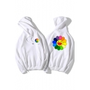 Funny Cute Cartoon Sunflower Printed Long Sleeve Loose Casual Hoodie
