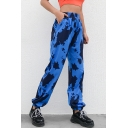 New Trendy Blue Camo Printed Elastic Waist Gathered-Cuff Sport Track Pants