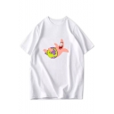 Funny Comic Print Basic Short Sleeve Relaxed Fit Cotton T-Shirt