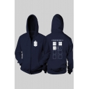 Doctor Who Fashion Printed Long Sleeve Full Zip Fitted Unisex Hoodie