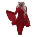 Elegant Off The Shoulder Flare Long Sleeve Eyelash Lace Trim Midi Pencil Dress