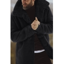 Men's Winter Warm Thick Shearling Inside Lapel Collar Long Sleeve Button Down Coat