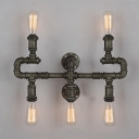 5 Lights Exposed Wall Lamp Industrial Metal Wall Sconce in Pewter Finish for Kitchen