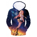 New Stylish 3D Galaxy Comic Girl Print Unisex Loose Fit Blue Hoodie