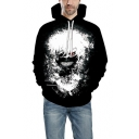 New Stylish 3D Printing Long Sleeve Relaxed Fit Black Hoodie