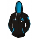 Letter ANDROID Printed Long Sleeve Zip Placket Black Hoodie