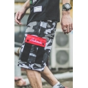 New Stylish Guys Street Fashion Drawstring Waist Camo Print Cotton Loose Cargo Shorts