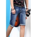 Summer Thin Stretch Straight Fitted Rolled Cuff Guys Blue Denim Shorts