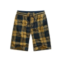 Men's Fashion Check Printed Drawstring Waist Dry-Fit Cotton Casual Relaxed Shorts