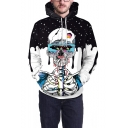 New Stylish 3D Space Galaxy Skull Astronaut Print Casual Black and White Hoodie