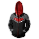 Cool 3D Cosplay Long Sleeve Zip Front Fitted Black Drawstring Hoodie