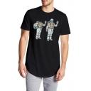 ummer New Trendy Funny Astronaut Pattern Short Sleeve Round Hem Longline T-Shirt